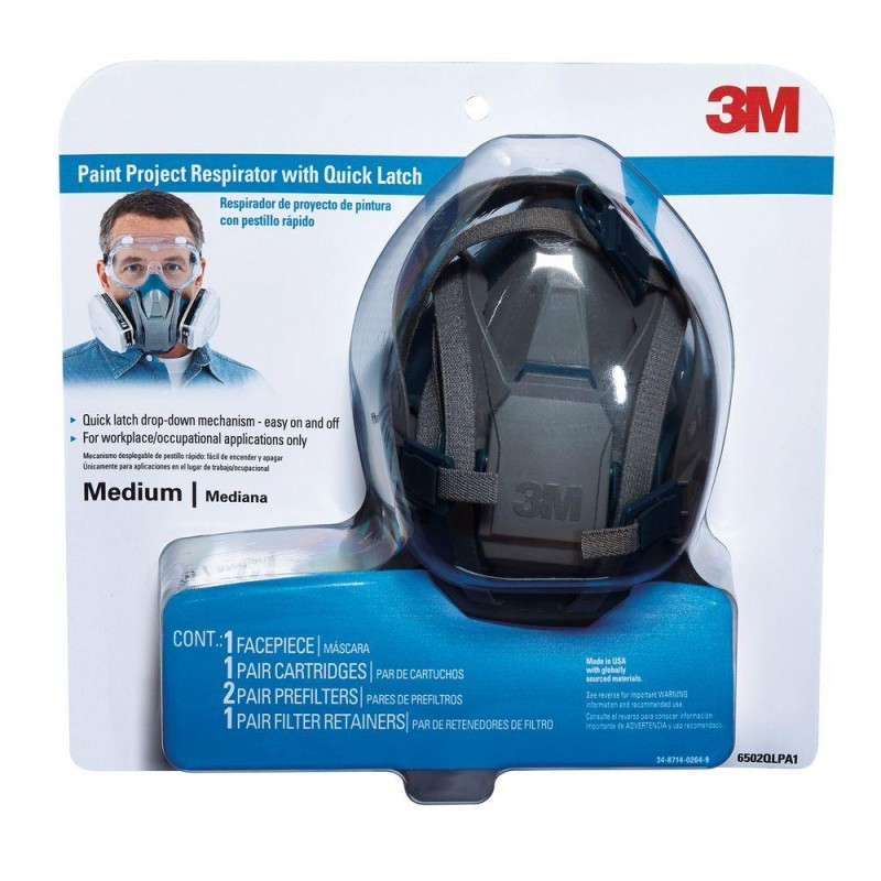 3M Medium Paint Project Respirator Mask with Quick Latch (Case of 4)